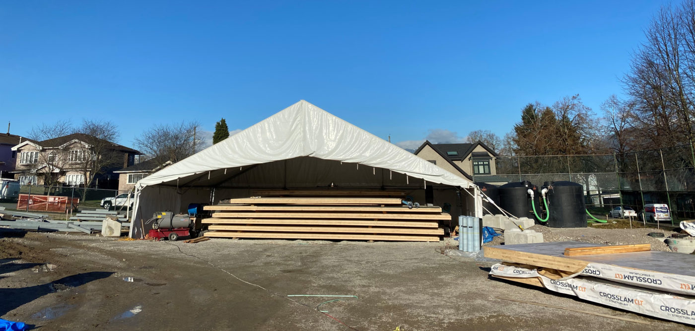 Construction site tent and fabric structure